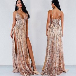 Sexy Straps Australia - Sexy Front Split Pink Lace Evening Dresses 2019 Spaghetti Straps Sweep Train Open Back Plus Size Prom Occasion Party Gowns Cheap