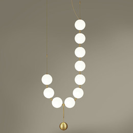 lamp necklace Australia - Luxury Simplicity Pearl Necklace Lobby Chandelier Glass Art LightsLiving Room Model Showroom Hall Personality Bubble Lamps