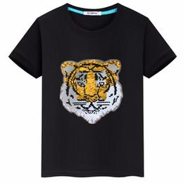 $enCountryForm.capitalKeyWord NZ - Tiger head children's clothing cartoon flip sequins 2019 summer cotton short sleeve T-shirt boy coat tide