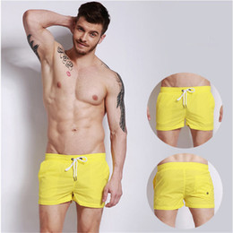 Wholesale men's swimsuits resale online - Brand Quick Drying Men s Beach Shorts Summer Fashion Joggers Man Swimwear Swimsuits Bermduas Sex Solid Mens Trunks A1685