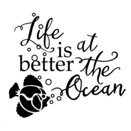 ocean window stickers NZ - 15*12cm Life is better at the ocean Brief Literary Inspirational Quotations Vinyl Decal Sticker Decals DIY Decor