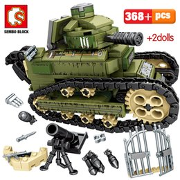 toys city NZ - SEMBO 596PCS WW2 City Police Ambulance Model Building Blocks Military Tank War Weapon Soldier Figures Bricks Toys For Boys