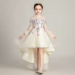 preppy clothing Australia - Flower Girls Dress Kids Girl Flower Embroidery Runway Dresses Princess Birthday Party Wedding Dress Vestidos 2020 Children Clothing S403