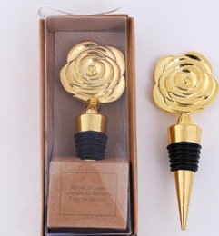 $enCountryForm.capitalKeyWord Australia - DHL Gold Rose Flower wine bottle stopper wedding favors and gifts souvenirs bridal shower Party Event Favors Giveaways for Guests