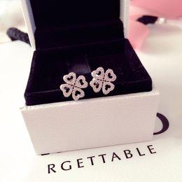 Ingrosso Trifoglio fortunato Orecchino scatola originale per Pandora 925 Sterling Silver CZ orecchini del diamante dei monili delle donne di lusso di nozze