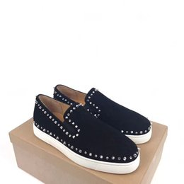 White oxford shoes men online shopping - Fashion Rivet Spike Boat Loafers Shoes Gentleman Red Bottom Shoes White Suede Leather Men Outdoor Unisex Footwear Leisure Oxford