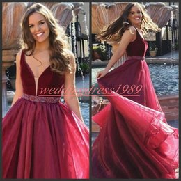 868aa2eaad567e Stunning V-Neck Organza Prom Dresses Juniors With Beads Sash Burgundy A-Line  Long Party Gowns Vestido de fiesta Formal Evening Wear Cheap