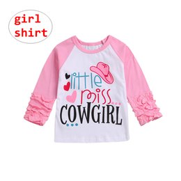 a323ab9c Baby Girl Pink Shirts Kids Letter Print Tops raglan ruffle sleeve Pullover  Clothes Summer Autumn for 1-6T