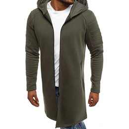 Wholesale slim fit hoodie zip up online – oversize Autumn Winter Men Solid Slim Fit Jacket Zip Up Long Sleeve Hoodie Jackets Army Green Black Gray Male Casual Outwear Men s Outerwear Coats