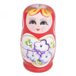 Russian Toy Dolls UK - New 5pcs Novelty Russian Nesting Wooden Matryoshka Doll Set Hand Painted Decor Russian Nesting Dolls Baby Toy Girl Doll