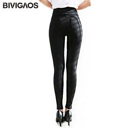 Xl Womens Leggings Australia - Bivigaos Spring Summer Fashion Womens Black Casual Elastic High Waist Leggings Trousers Pocket Pencil Pants Skinny Slim Female Q190509