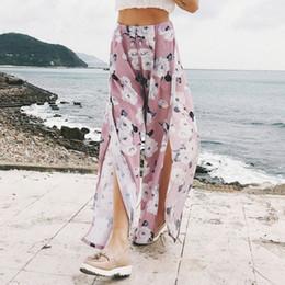 Chiffon Beach Trousers Australia - 2019 New Women Floral Print Wide Leg Pants Summer Boho Beach Elastic High Waist Chiffon Trousers