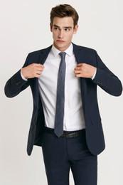 $enCountryForm.capitalKeyWord NZ - New Navy Blue Slim Fit Men Suits Wedding Groom Tuxedos Business Suits 2 Pieces (Jacket+Pants) Bridegroom Sets Best Man Prom 147