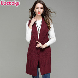 long knitted sleeveless cardigan Australia - 2018 Ubetoku Autumn winter women knit sweaters lady sleeveless cardigan solid loose fashion young women long outerwear