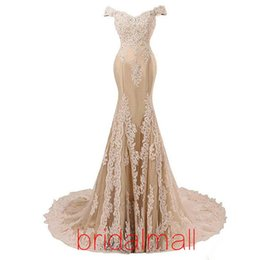 Light yeLLow formaL dresses online shopping - Off Shoulder Sexy Mermaid Prom Dresses Modest Appliques Lace Formal Evening Dress Cheap Prom Party Gowns Bridesmaid Vestido de Festa