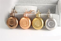 f1 keychain UK - Round Hip Flask Mini Wine Bottles Flagon Portable Stainless Steel With Keychain Colors Mix Fashion 13xd F1