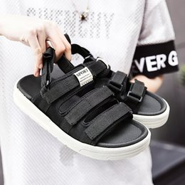$enCountryForm.capitalKeyWord Canada - Men sandals Summer Ventilation Exposed toes Casual shoes Beach slippers Sports style Rubber sole Flat bottomed shoes canvas Ankle Strap 1811