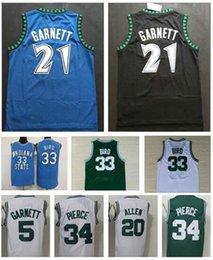 Atacado Mens Esportes Camisas 21 # Kevin Garnett Jersey Black Azul Branco 34 # Paul Pierce Jerseys 5 # Kevin Garnett 20 # Ray Allen Camisa Costura em Promoção