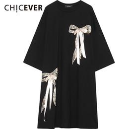 Down Korean Dresses Australia - Chicever Bow Summer Dress Female O Neck Three Quarter Sleeve Loose Big Sieze Women's Dresses Korean Top Sweet Fashion Clothing J190511