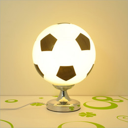 football bedding 2021 - Eye Protection Writing Reading Table Lamp Bedroom Bedside Lamp Creative Football Basketball Table Lamp Boy Room E27 Socket