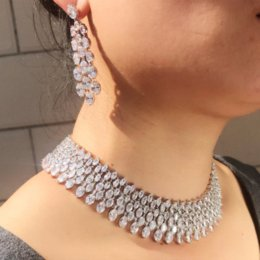 Jade Dresses Australia - brand new clear white stone cubic zirconia micro pave setting Heavy Dinner choker with earring Wedding Bridal Dress Accessories