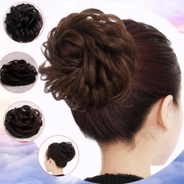 clip heat resistant hair 2019 - BUQI Synthetic Fake Hair Chignon Rubber Band Bun Curly Clip In Hair Extensions Blonde Heat Resistant Rope Accessories ch