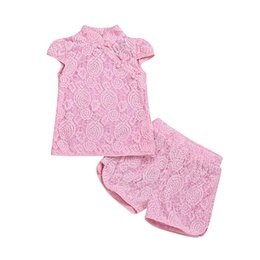 baby girls formal wear UK - Baby Girl school wear Clothing Set Kids girl lace formal party Toddler Outfit Boutique Clothes Suit