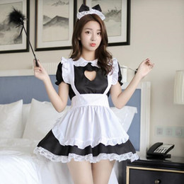 64b582382b Sexy Lingerie Cat Girl Cosplay Maid Uniform French Apron Maid Servant  Lolita Babydoll Dress Erotic Role Play Sexy Costumes