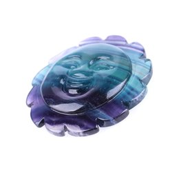 fluorite carving Australia - Hand Carved Smiling Face Natural Rainbow Fluorite Quartz Crystal Sun