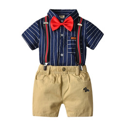 Boys Summer Suits For Wedding Australia - New Boys Striped Vest Suit for Wedding Children Summer Formal Pants+Shorts Clothing Set for Baby Boys, Kids Costume