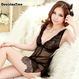 2019 new Sexy Lace Underwear Hot Babydolls Dress Sexy Lingerie Women Lace  Open Front Night Gown Mini Sex Clothing e8e35bf7f