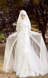 colorful muslim gold wedding dresses NZ - 2018 Elegant A Line Long Sleeves Arab Muslim Wedding Dresses White Lace Appliques Beads Plus Size Wedding Gowns for Muslims