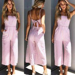 $enCountryForm.capitalKeyWord Australia - Ursohot Pink Striped Off Shoulder Wide Leg Jumpsuit Women 2018 Summer Beach Sexy Strap Backless Bow Rompers Streetwear Overalls MX190726
