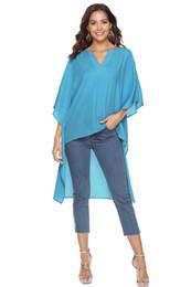 Wholesale black shirt chiffon hem online – 2019Spring Summer ladies loose Chiffon Shirt Bat sleeve Women s Blouses Shirts Irregular hem Ladies Large Size Shirt S M L XL