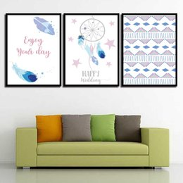 Art Canvas Prints Australia - Modern Quotes Style Kids Decor Poster Feather Stars Nordic Watercolor Girl'S Room Pictures Prints Painting HD Wall Art Canvas