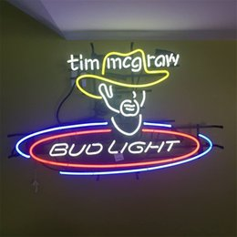 bud light beer neon sign Australia - New Star Neon Sign Factory 17X14 Inches Real Glass Neon Sign Light for Beer Bar Pub Garage Room Tim McGraw Bud Light.