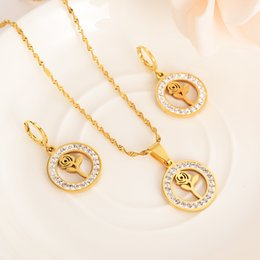 Rose Pendant Jewellery Australia - stainless steel cz crystal rose round Pendant sweater Chain Necklaces Earrings Jewellery Set Wedding party jewelry for women girls gifts