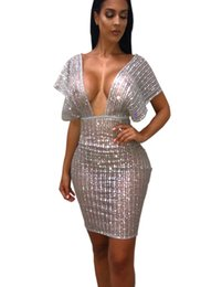 456d58d5639 Discount summer night party outfits - Shining Sequins Sheer Mesh Bodycon  Club Dress Women Sexy Deep