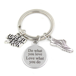 new love ring boy girl 2019 - New Arrival Stainless Steel Key Chain Key Ring Fitness Love to Run Keychain Keyring Runners Gifts for Men Women Jewelry