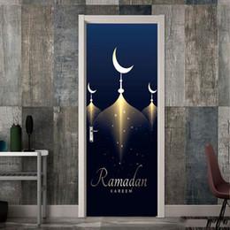 Art People Australia - 2Pcs Set Ramadan Muslim 3D Door Stickers Vinyl Wall Decal Door Mural Art Bedroom Doors Waterproof PVC Sticker