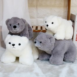 wholesale small toys for easter Australia - Polar Bear Plush Toys Stuffed Animals Dolls Small White Grey Ice Bear Stuffed Animal Plush Collection Huggable Pillow Cushion for Kids Child
