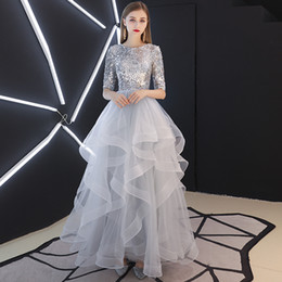 teen line dress Canada - 2019 New Silver Tulle A-line Long Modest Prom Dresses With Half 1 2 Sleeves Floor Length Ruffles Skirt Sequins Top Teens Girls Sparkly Dress