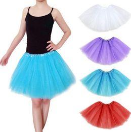 INS Women Tutu Dress Candy Rainbow Color Party Mesh Skirts lady Dance Dresses Adult Summer Bubble Gauze Ballet Mini Short Skirt E3610 on Sale