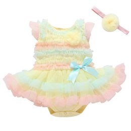 Red White Blue Tutus UK - Lace Baby Rompers Dresses Baby Girl Clothes Newborn Dresses Newborn One Piece Clothing Infant tutu Dress princess baby girl dresses A2658