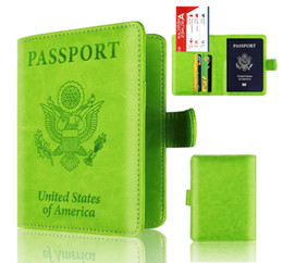 Business Card Holder Magnetic Australia - Travel Leather Usa Passport Cover Us Rfid Protection Credit Card Passport Holder Case With Magnetic Button