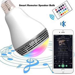 led speaker packaging Canada - Creative APP Control Speaker Wireless Control Speaker LED RGB Color Bulb Light Lamps E27 D5528B Bluetooth Mini Speaker with Package