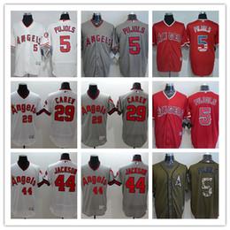 7b724c7c5 custom Men s women youth Los Angeles Angels Jersey  5 Albert Pujols 29 Rod  Carew 44 Reggie Jackson Red Grey White Baseball Jerseys