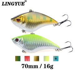 fishing tackle shot UK - LINGYUE Hard Wobblers 7cm 16G Plastic VIB Fishing Lures Artificial Bait 6# Treble Hooks Long Shot Sinking Crankbait Tackle Y032