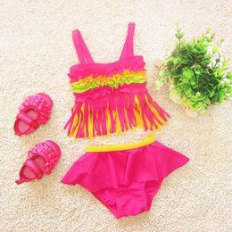$enCountryForm.capitalKeyWord NZ - Tassel children swimwear falbala girls swimwear baby kids biquini infantil swimsuit bikini girl 2018 New summer bathing suit