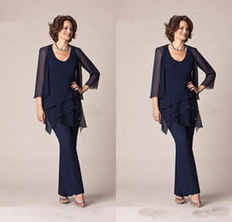 $enCountryForm.capitalKeyWord Australia - 2019 Dark Navy Blue Chiffon Three-Pieces Mother of the Bride Pant Suits Jackets for Mothers Bride Trousers 3 4 Long Sleeve Formal Groom